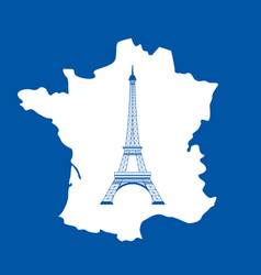 eiffel tower and map on blue vector image vector image