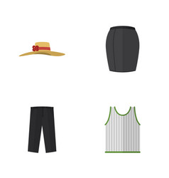 Flat icon dress set of stylish apparel pants vector