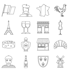 France travel icons set outline style vector