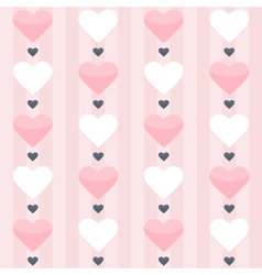 Seamless pattern with pink and white hearts on a vector image