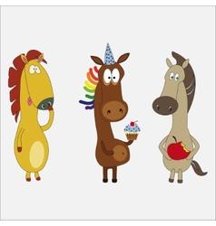 Set of funny horses cartoon character vector image