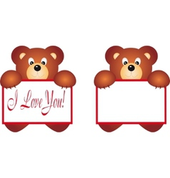bear holding placard vector image vector image