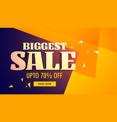 Biggest sale banner with yellow and purple vector