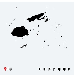 High detailed map of Fiji with navigation pins vector image vector image