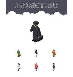 isometric human set of policewoman guy girl and vector image vector image