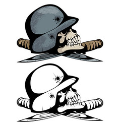 two skulls in military helmets vector image