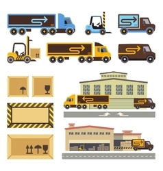 Warehouse building and transportation vehicles vector image