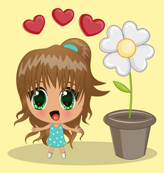 anime girl vector image