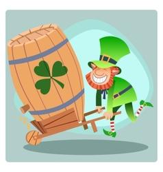 Day Patrick green leprechaun lucky keg of beer vector image