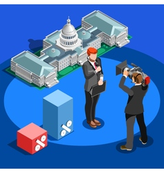 Election News Infographic Capitol Dome Isometric vector image vector image