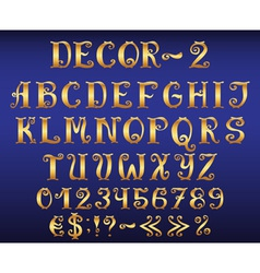 Golden vintage decorative english alphabet vector image vector image