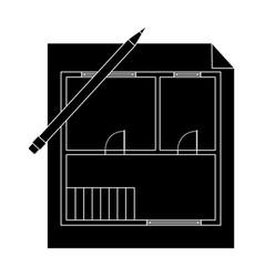 house planrealtor single icon in black style vector image