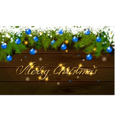 merry christmas panoramic banner golden text vector image