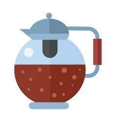 Traditional tea ceremony gray teapot with cup on vector image