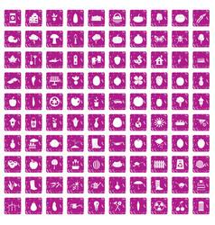 100 garden icons set grunge pink vector