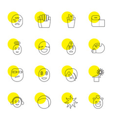 16 yellow icons vector