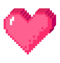 3d pixel heart icon vector