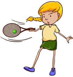 A simple sketch of a female tennis player vector image