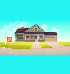 Abadoned old house with sign sold vector