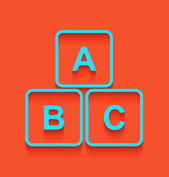 abc cube sign whitish icon vector image