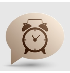 Alarm clock sign Brown gradient icon on bubble vector image