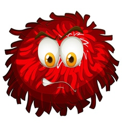 Angry face on red pom pom vector