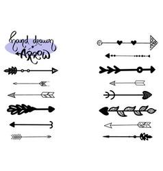 arrow set grunge sketch hand drawn vector image
