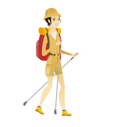 Asian woman hiker walking with trekking sticks vector