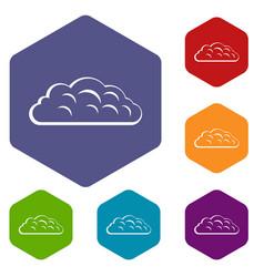 Autumn cloud icons set hexagon vector