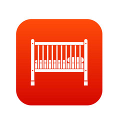 baby bed icon digital red vector image