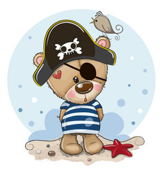 bacartoon teddy bear in sailor costume vector image