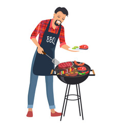 Barbecue and man with plate vector