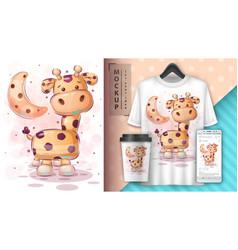 Big giraffe - poster and merchandising vector