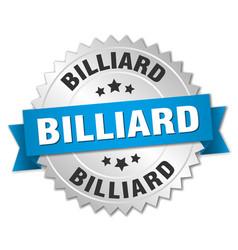 Billiard round isolated silver badge vector