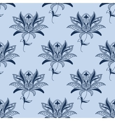 Blue paisley floral pattern vector