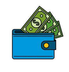 Blue wallet with green dolars bills inside vector