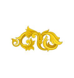 Bright golden baroque ornament luxurious floral vector