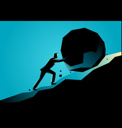 businessman pushing large stone uphill vector image