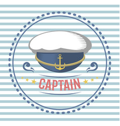 Captain hat nautical and marine sailing themed vector