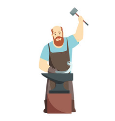 Cartoon blacksmith worker isolated on white vector