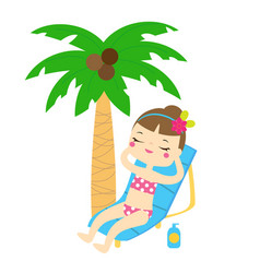 cartoon girl enjoy beach summer holidays under vector image