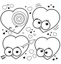 Cartoon hearts coloring page vector