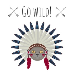 Cat in native american Indian war bonnet vector