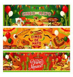 cinco de mayo mexican holiday guitar and sombrero vector image