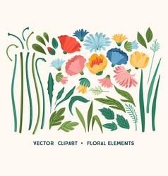 Clipart floral design elements leaves vector