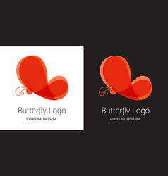 colorful red butterfly logo template vector image