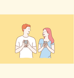 Concept a young couple in love excited man and vector