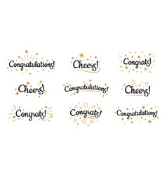 congrats lettering congratulation text labels vector image