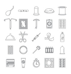 Contraception day control icons set outline style vector