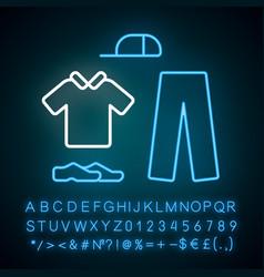 Cricket uniform neon light icon sport flannels vector